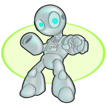 An arcade styled robot, pointing at the viewer, dynamic. Stock Vector - 1905784