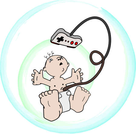 Video Game Addiction, a baby in a bubble, with a game button pad as a umbilical cord.