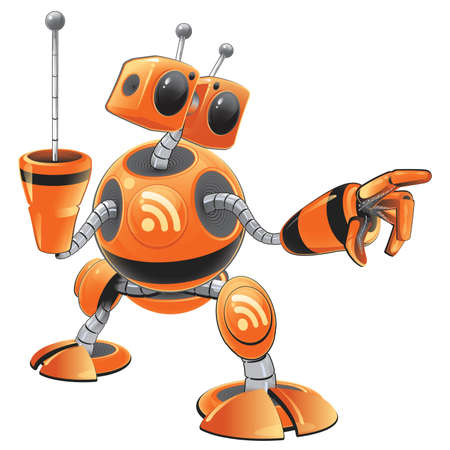RSS orange robot Vector