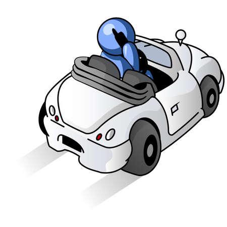 driving a car: Un hombre azul conducir un coche. Vectores