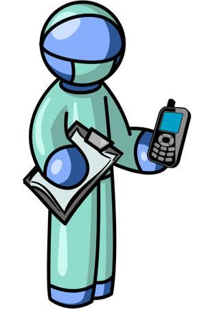 surgeon mask: Un hombre cirujano azul de la celebraci�n de un tel�fono celular y portapapeles