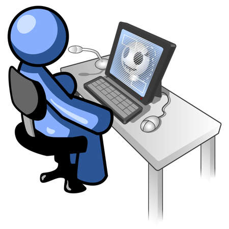 blue man: A blue man at a desk looking at an X-ray on a computer monitor Illustration