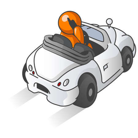 An orange man driving a generic convertible while talking on a cellular phone.