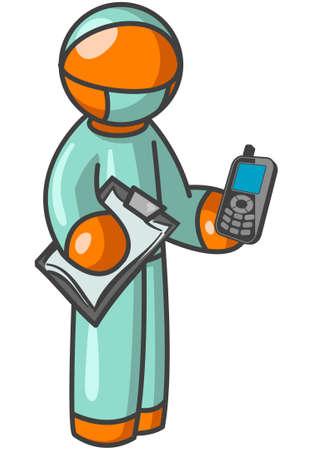surgeon mask: Un hombre de color naranja la celebraci�n de un tel�fono celular y portapapeles Vectores