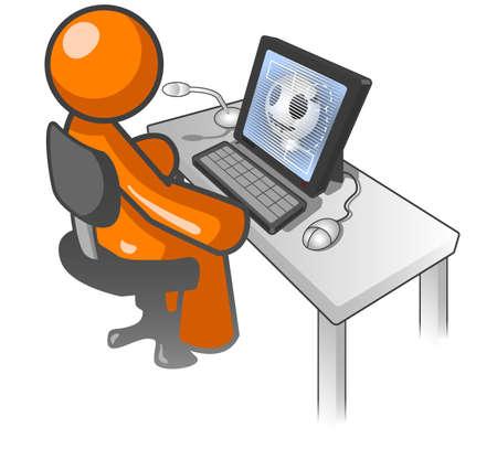 medical study: Un uomo di colore arancione guardando un monitor che mostra un Xray di un cranio fratturato