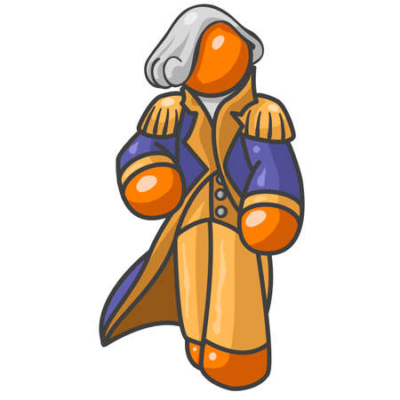 george washington: An orange man dressed as george washington