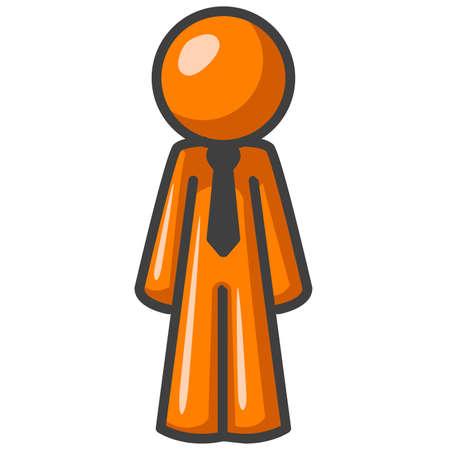 formalwear: An orange man, facing forward, symmetrical in form