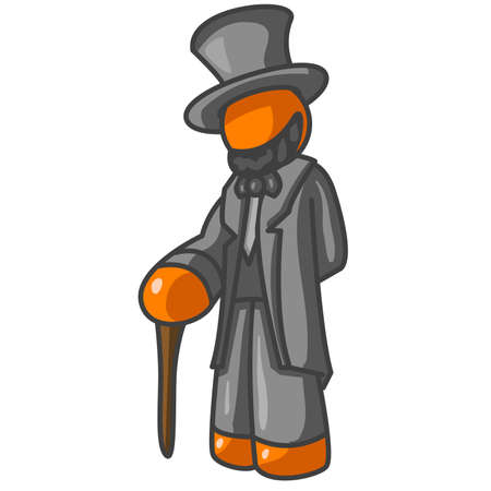 lincoln: An orange man dressed like that old president Abraham Lincoln. Illustration