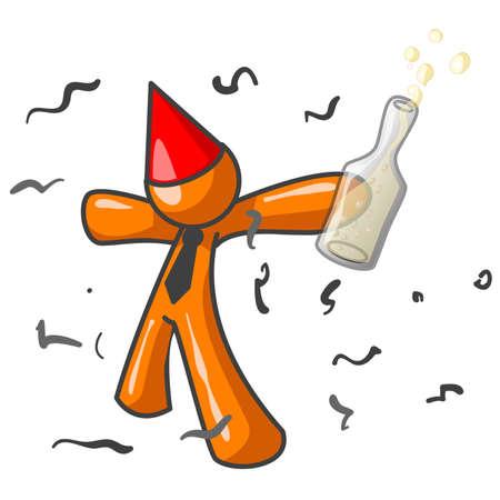 An orange man definitely having fun at a party.