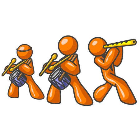 number of people: Orange Man Musical Group Illustration