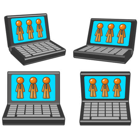 computer cartoon: Four different perspectives of a laptop with orange men on the screen. Illustration