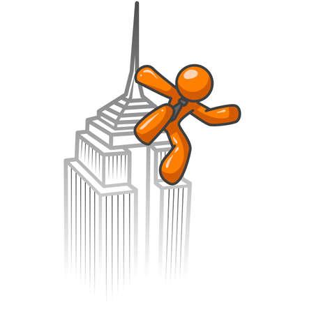 kong: An orange man climbing a building like king kong.