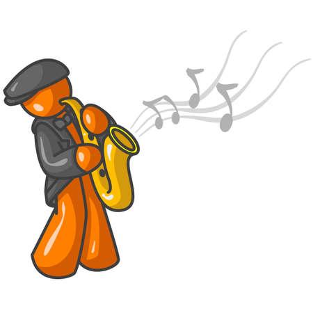 musical instruments: Un hombre de naranja jugando jazz