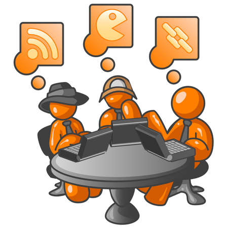 Three orange men at an internet cafe, one using an RSS feed, another chatting, and the other following a link