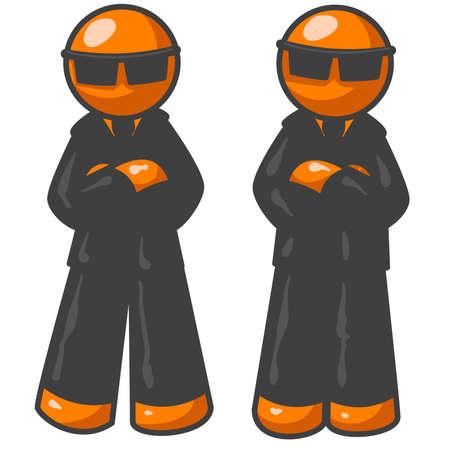 gafas de sol: Orange hombres como agentes de un organismo gubernamental que nadie conoce.  Vectores