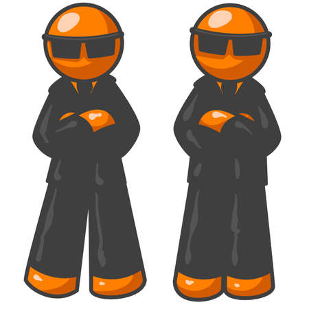 Orange men as undercover agents for a government agency nobody knows about. Vector