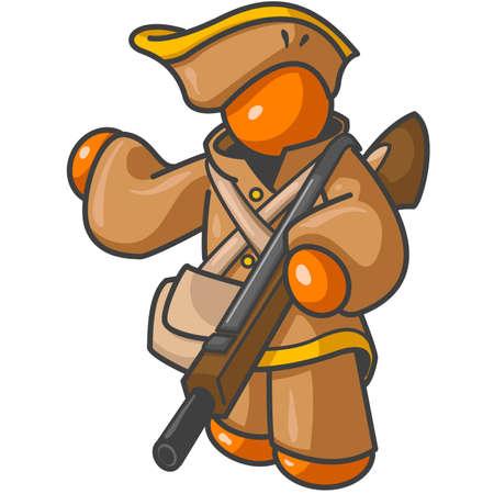 reenactor: antiguo cazador o Minuteman