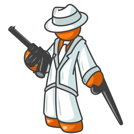 gun: An orange man posing as an old fashioned gangster, holding a gun