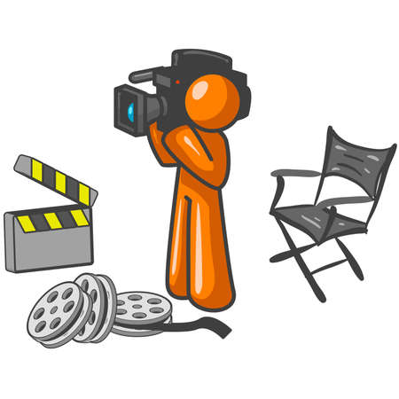 guy standing: An orange man with his camera and directors chair filming something. Illustration