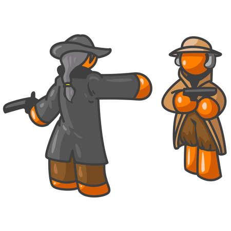 pistola: Orange hombres a punto de tener un duelo  Vectores