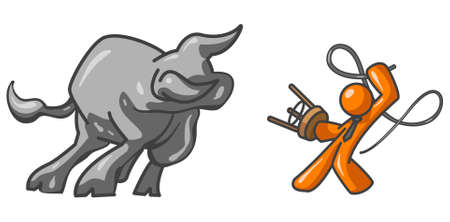 im: An orange man taming a bull. Im rather proud of how the bull turned out. Its a Wallstreet business concept. Illustration