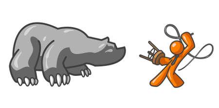 oso caricatura: Un hombre de naranja domar un oso. Pretende ser un concepto de negocio Wallstreet
