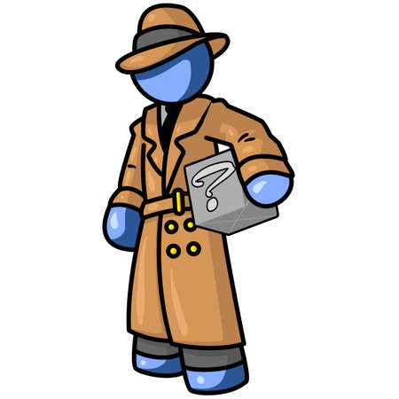 inspector: A blue man inspector or detective holding a box Illustration
