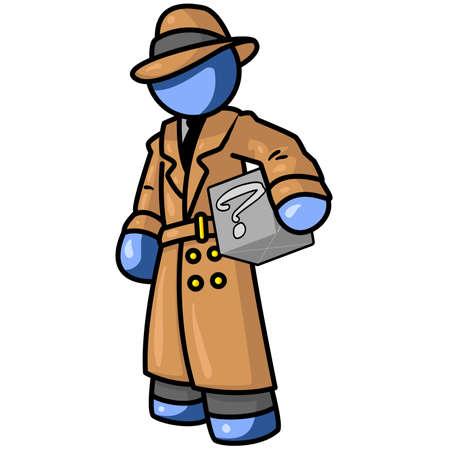 kontrolleur: Ein blauer Mann Inspektor oder Detektiv mit einer Box