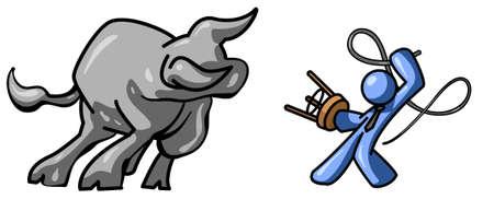 whip: A blue man taming a bull.