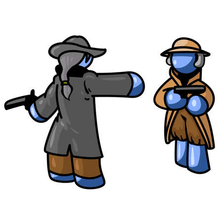 unrecognizable person: A blue man duel based on a famous historical event