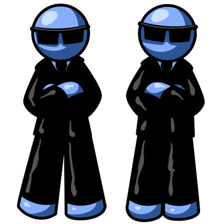 secret agent: Blue men with black suits. Illustration