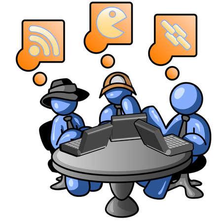 internet cafe: Blue men at an internet cafe Illustration