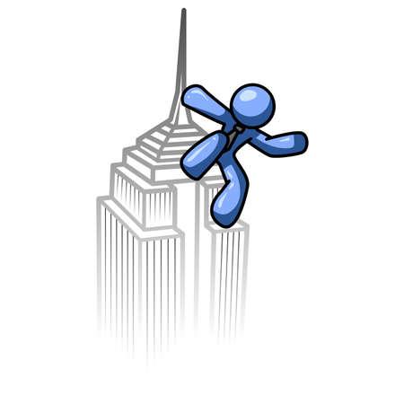 1 place: Blue hombre escalar un edificio como un monstruo de pel�cula antigua.  Vectores