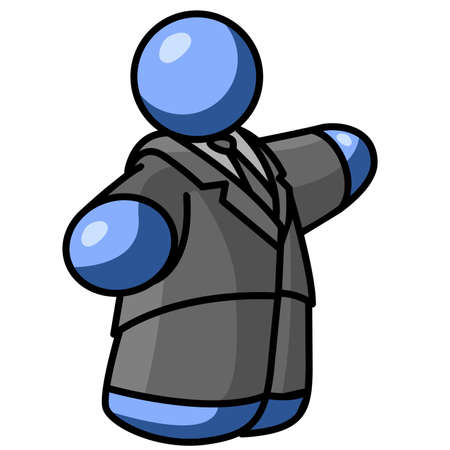 rotund: Large blue man in business suit Illustration