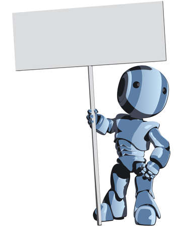 robot cartoon: Blue Cute Robot Character Holding Sign Illustration