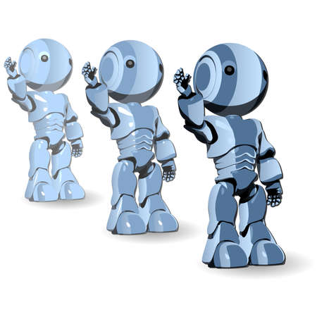 Blue Cute Robot Character Standing in Line Vector