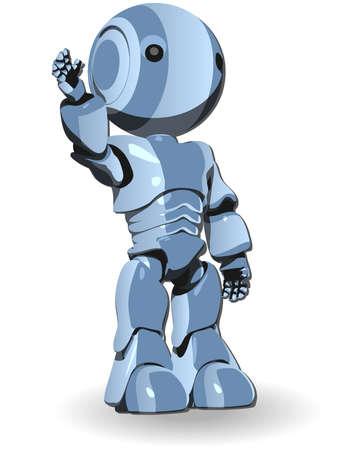 Blue Cute Robot Character Raising Hand Vector