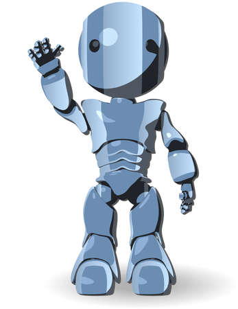 cybernetics: Blue Cute Robot Character Raising Hand Front View