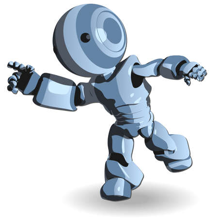cybernetics: Blue Cute Robot Character Running Illustration