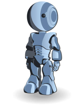 Blue Cute Robot Character Standing Straight