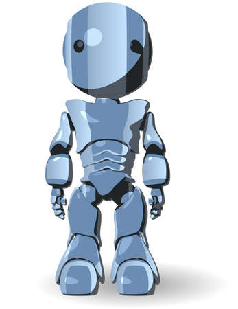 cybernetics: Blue Cute Robot Character Standing Front View Illustration