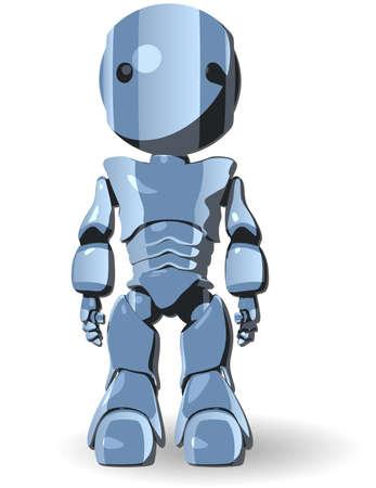 robot: Lindo Robot Azul de caracteres Permanente Vista frontal Vectores