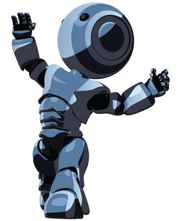 thinking machine: Un robot de dibujos animados buscando en los cielos.