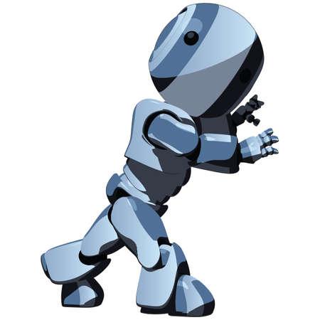robot caricatura: Una caricatura robot empujar un objeto invisible para su dise�o.