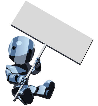 A cartoon robot holding a blank sign for your typing. Vector