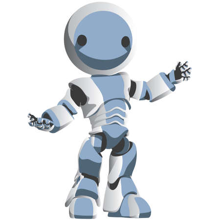 A white and blue robot presenting your design or website. Stock Vector - 2662087
