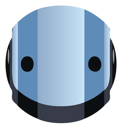 cybernetics: A blue robot head, for an icon, button, or decoration.  Illustration