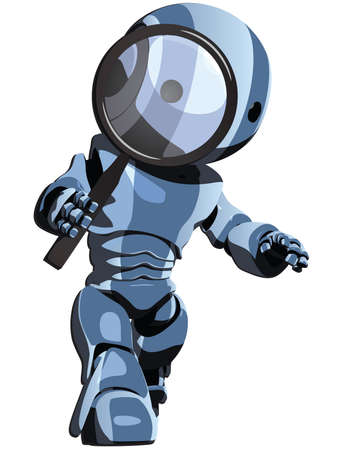 A blue robot searching for something.  Vector