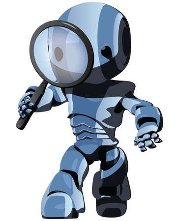 search engine: A blue toon robot searching for something.