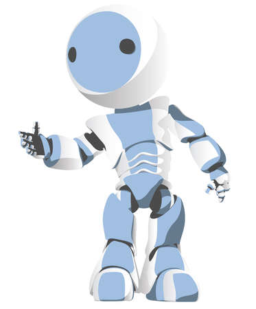 robot vector: Toon Robot Gesturing Hi